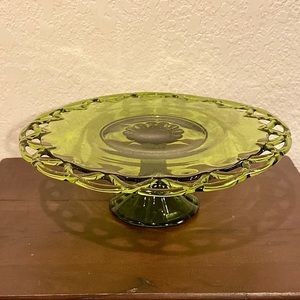 Vintage Colony Lace Green Glass Cake Plate